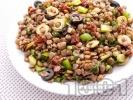 Рецепта Салата с леща, маслини и сушени домати